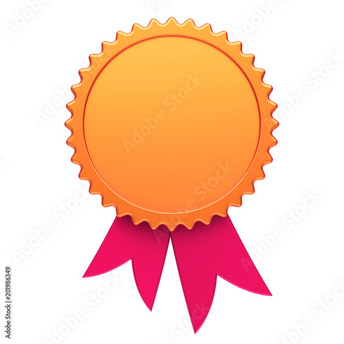 Award ribbon golden red reward medal rosette blank Wallpaper Mural