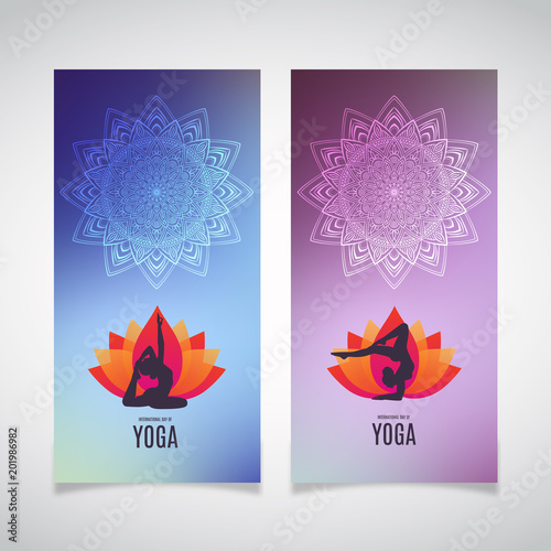 Yoga Banner Collection Ethnic Ornament And Human Silhouette Eps 10 Vector Illustration Buy This Stock Vector And Explore Similar Vectors At Adobe Stock Adobe Stock