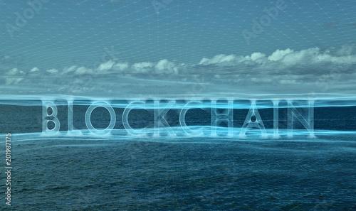 Staande foto Wereldkaart Conceptual blockchain cyberspace on seascape background.