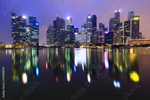 Poster Singapore Singapore Skyline. Singapore`s business district and night view for marina bay