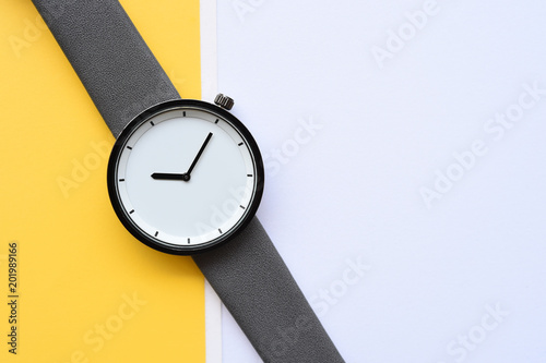close up of black wristwatches for background