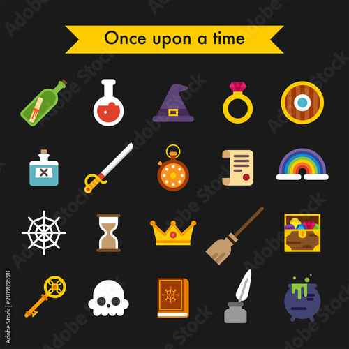 Fairy tale fantasy object icons vector flat design illustration set Poster