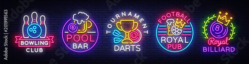 Photographie Big collection neon signs for Bowling, Darts, Billiards, Football Pub