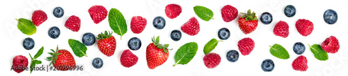 Fresh Berries mix isolated on white background. Berry ornament. Top view.
