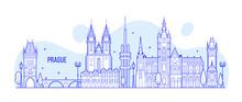 Prague Skyline Czech Republic City Building Vector