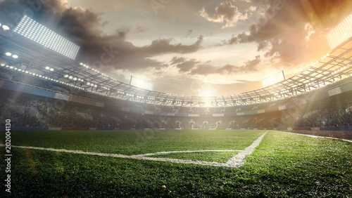 Photo  Sport Backgrounds. Soccer stadium.