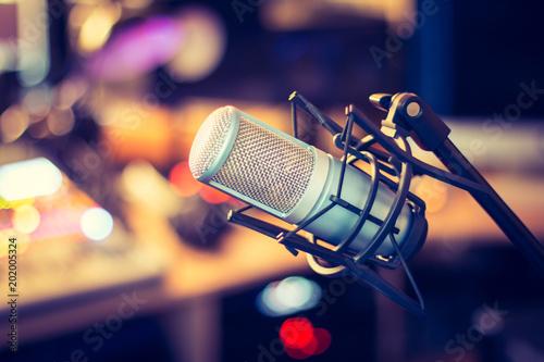 Cuadros en Lienzo Mikrofon im Tonstudio, Radio