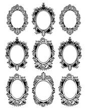 Vintage Mirror Frames Set. Vector Collection Of Round Vintage Frames, Design Elements