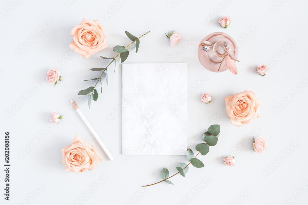 Wedding Invitation Card Marble Paper Blank Rose Flowers