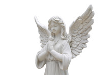 Statue Of An Angel Isolated On White.