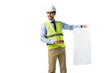 Architect in reflective vest and hardhat presenting blank blueprint isolated on white