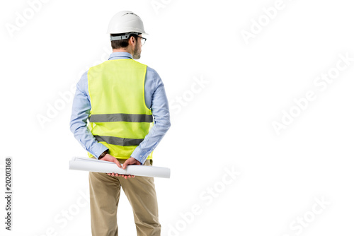 Fotomural Rear view of architect in reflective vest holding blueprint isolated on white