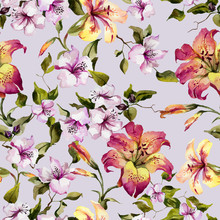 Beautiful Tiger Lilies And Small Pink Flowers On Twigs Against Light Lilac Background. Seamless Floral Pattern. Watercolor Painting. Hand Painted Illustration.