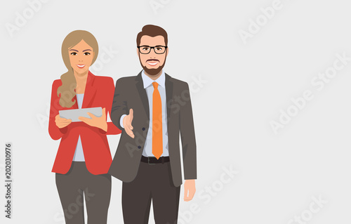 Fotomural vector illustration of a woman and a man for business concepts, people in suits