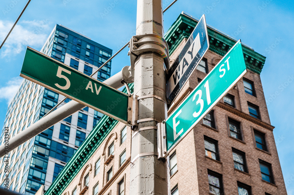 Fototapety, obrazy: 5th Avenue (Ave) Sign, New York NYC