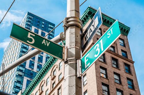 Fond de hotte en verre imprimé New York City 5th Avenue (Ave) Sign, New York NYC