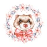 Cute ferret. Spring wreath. Watercolor illustration - 202033957