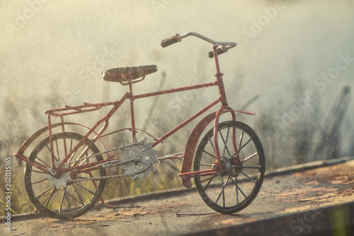 Recess Fitting Bicycle Red vintage bicycle under rain