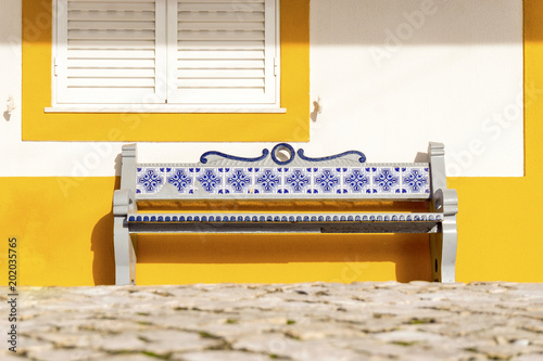 Fotografie, Obraz  Bench decorated with traditional tiles called azulejos, Portugal
