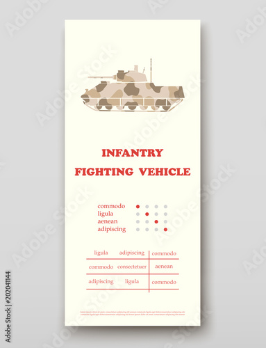 Fotografía  Infantry fighting vehicle leaflet cover presentation abstract, layout size techn