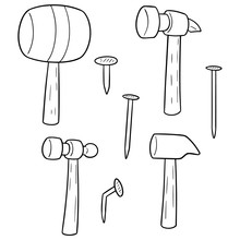 Vector Set Of Hammer And Nails