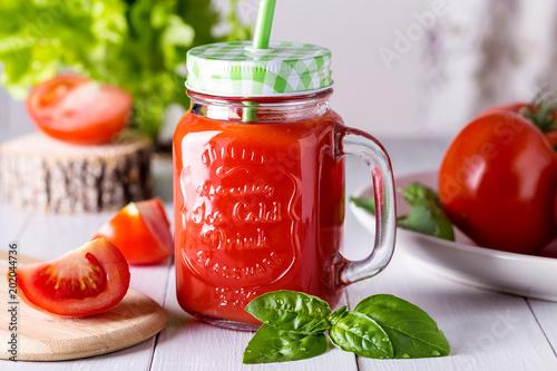Fototapeta Image with tomato juice. obraz