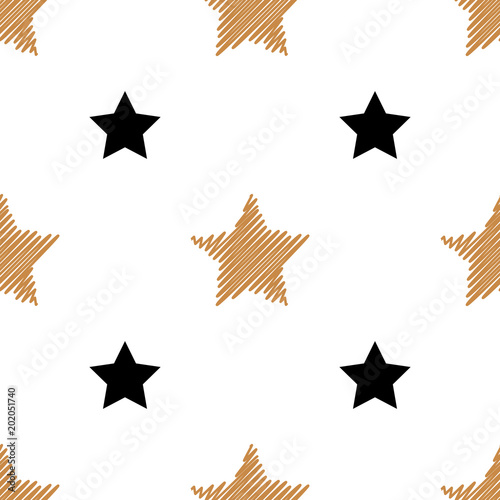 Cotton fabric Simple seamless background with gold and black stars. Vector illustration. Vector
