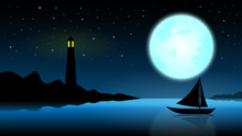 Ship In The Night Of Full Moon;blue Ocean With Lighthouse At Midnight With Full Moon;star On The Sky;fantasy Landscape Background;beautiful Silhouette Night Landscape Vector Design