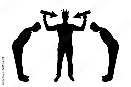 Fotografie, Tablou Silhouette vector of a selfish man with a crown on his head is trying to attract