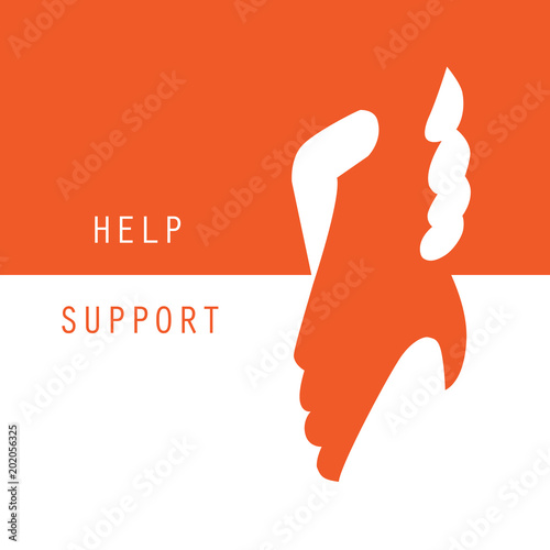 Fototapeta Help and support hands holding together vector graphic design background obraz