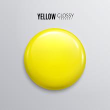 Blank Yellow Glossy Badge Or B...