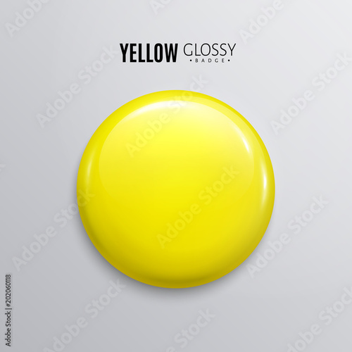 Fotografía  Blank yellow glossy badge or button. 3d render.