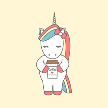 Cute Cartoon Vector Illustration With Unicorn With Coffee Cup