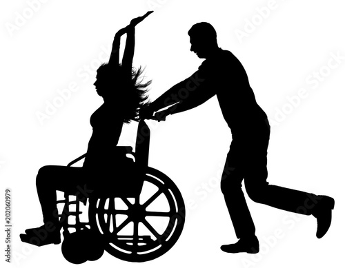 Vector silhouette disabled woman in a wheelchair is having fun with a man Canvas-taulu