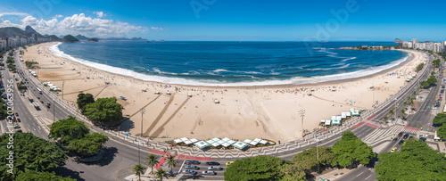 Wide Angle Panoramic View of Copacabana Beach in Rio de Janeiro, Brazil