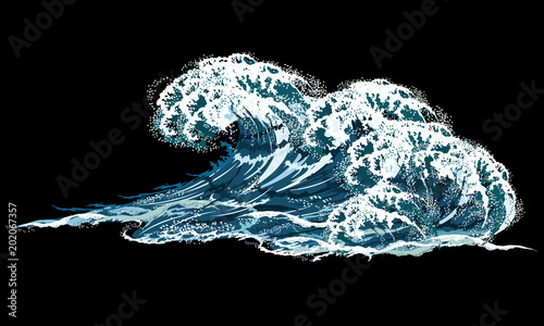 Sea wave. Hand drawn realistic vector illustration isolated on black background, imitation of oil painting.