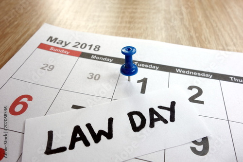 Law day date marked on calendar - tuesday, 1 may 2018 Tablou Canvas