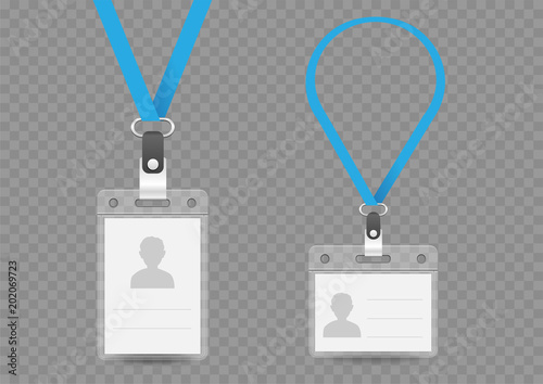 Photographie badge empty template and lanyard