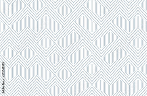 obraz dibond Seamless geometric pattern with hexagons and lines. Irregular structure for fabric print. Monochrome abstract background.