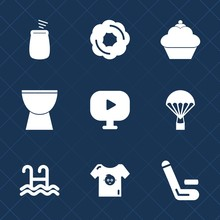 Premium Set With Fill Icons. Such As Skydiver, Sound, Skydiving, Water, Dessert, Swim, Sky, Musical, Fly, Cake, Doughnut, Competitive, Pool, Play, Baby, Championship, Clothes, Air, Sweet, Kid, Video
