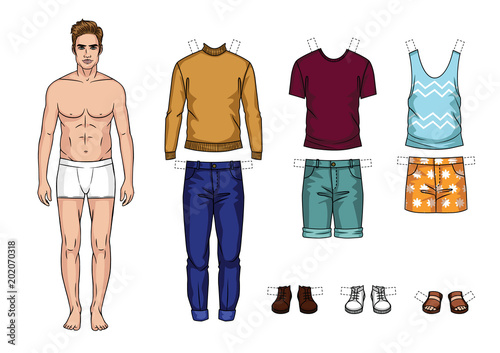 Vector colorful set of fashionable men's outfits isolated from background Tableau sur Toile