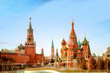 Leinwandbild Motiv Moscow Kremlin and St Basil's Cathedral on the Red Square in Moscow, Russia.