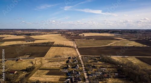 Foto op Aluminium Luchthaven Drone photo of the countryside fields