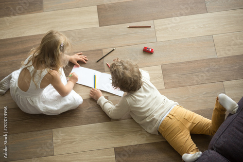 Fotografie, Obraz  Kids sister and brother playing drawing together on wooden warm floor in living