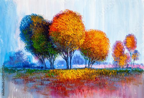 Fototapeta Trees, oil painting, artistic background obraz na płótnie