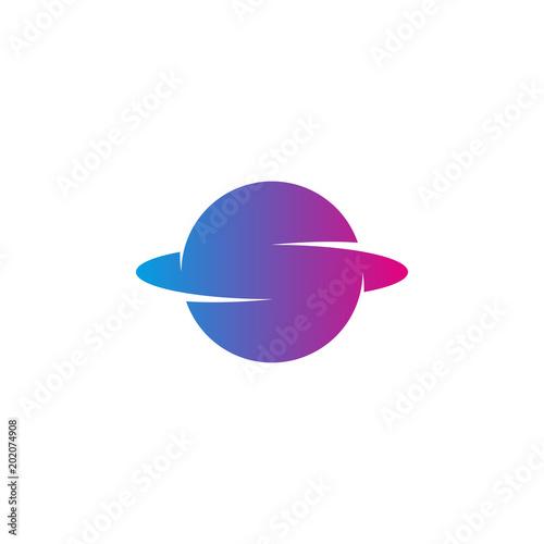 Letter S Logo Trendy Grant Color Planet Shape With Orbit