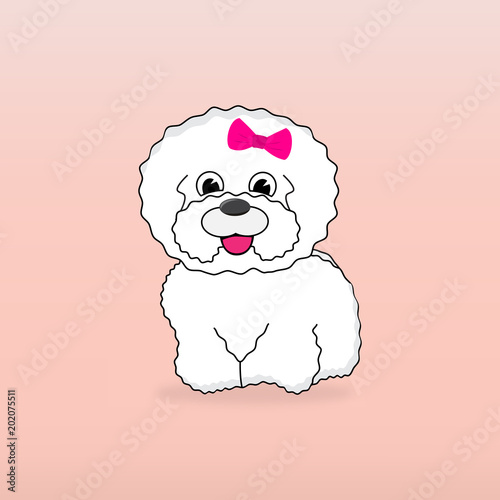 Valokuva Cartoon character bichon dog with pink bow