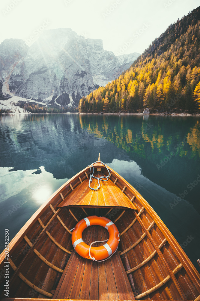 Traditional rowing boat on a lake in the Alps