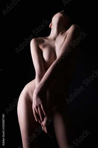 Stickers pour porte Akt Female Nudity in Dark. Naked Girl