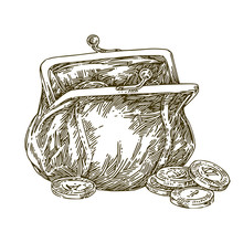 Vintage Purse With Money. Sketch. Engraving Style. Vector Illustration.